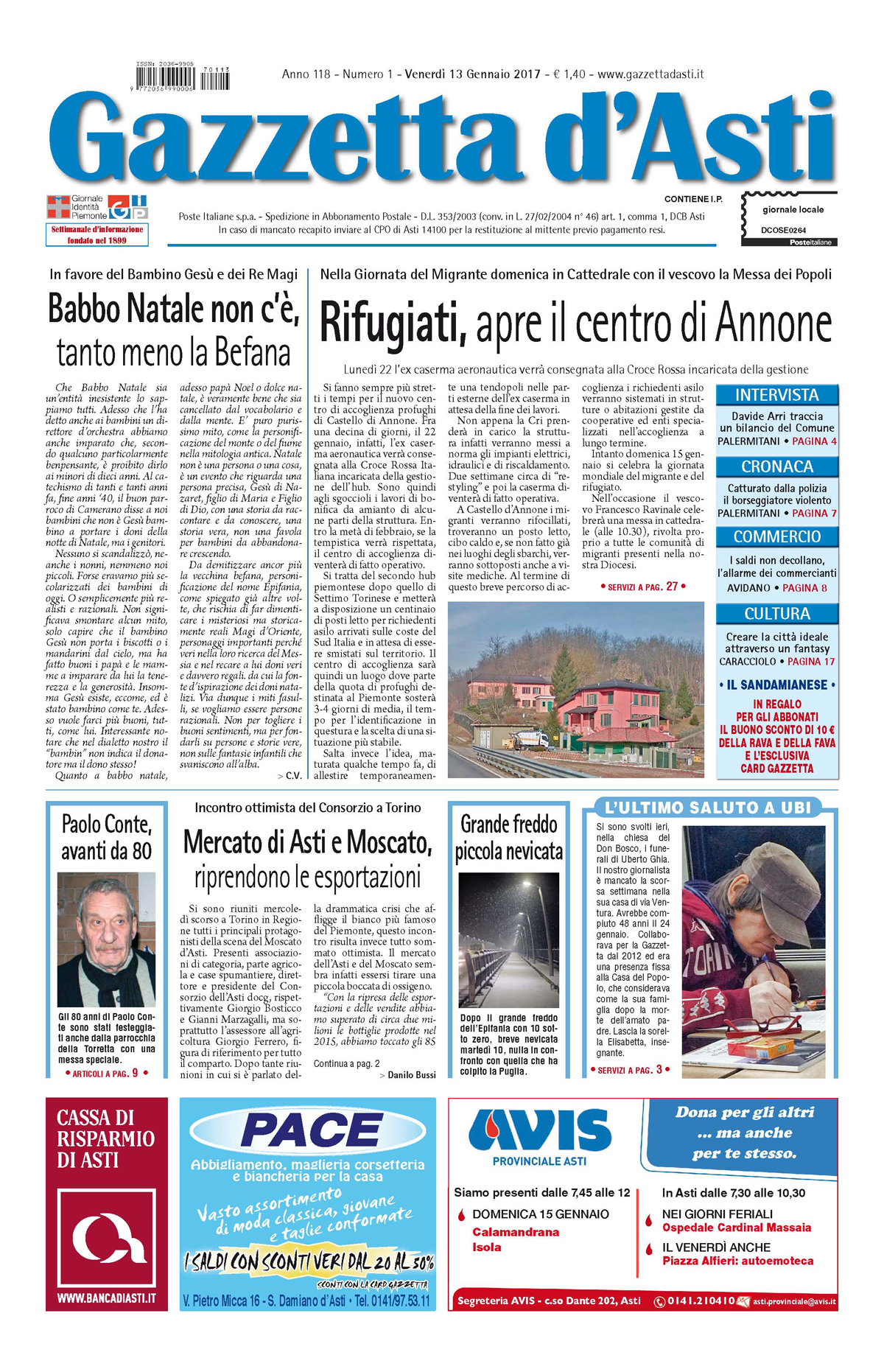 Prima pagina – 13 gennaio 2017