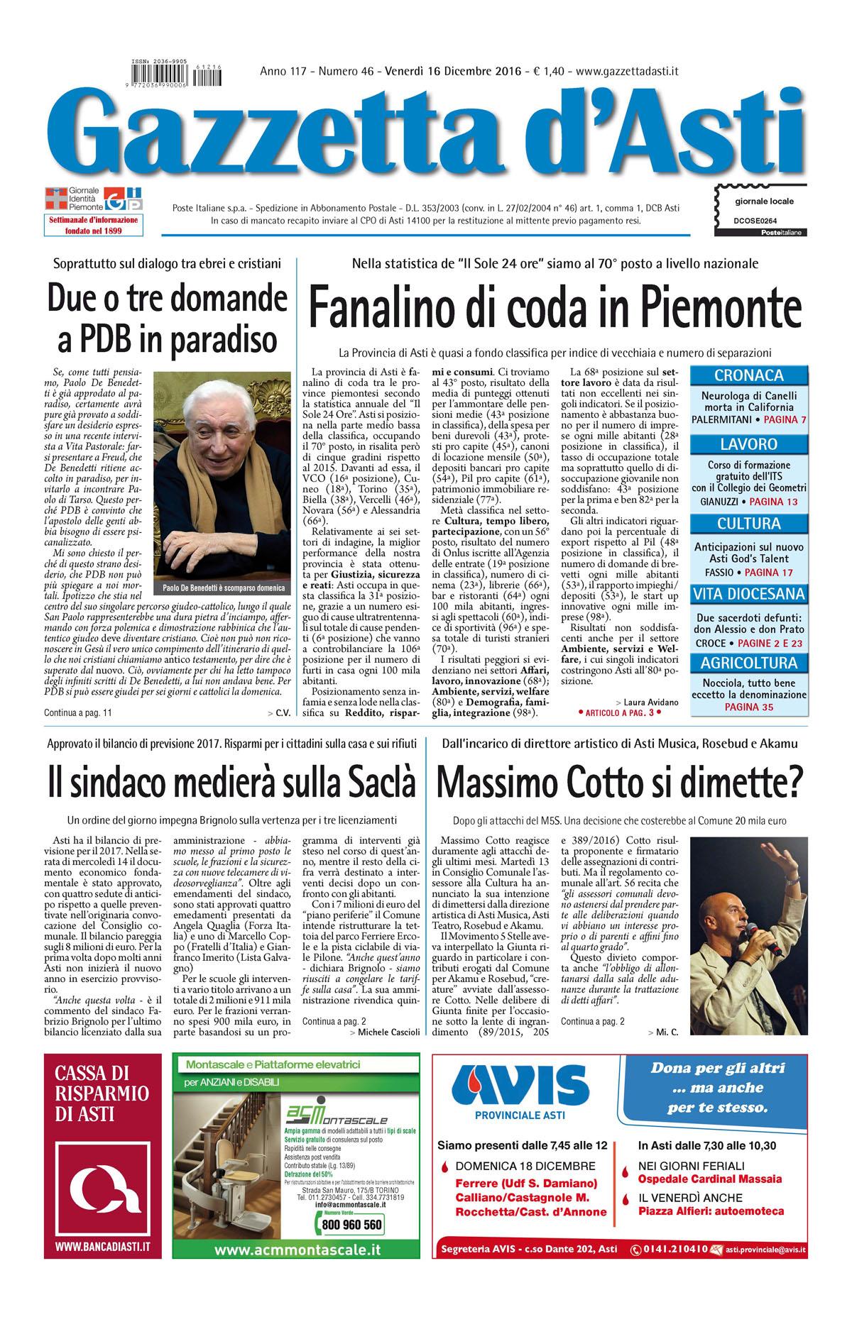 Prima pagina – 16 dicembre 2016
