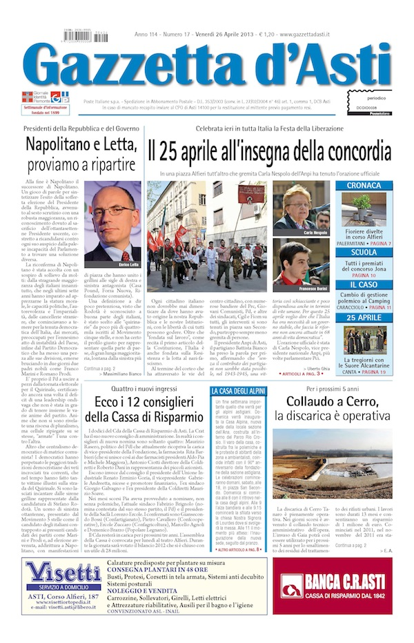 Prima pagina – 26 aprile 2013