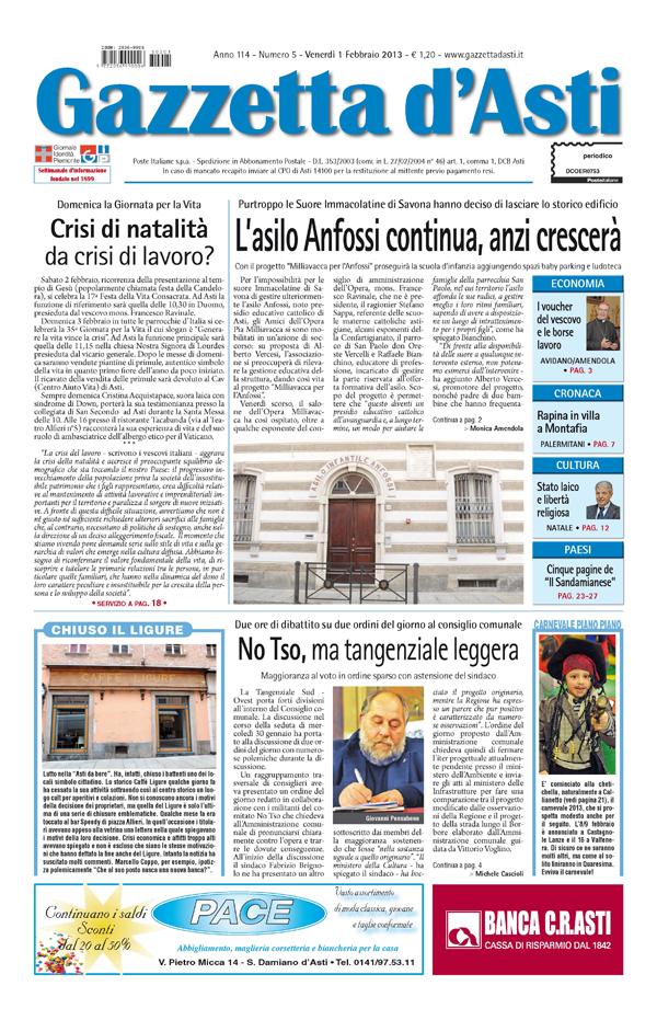 Prima pagina – 1° febbraio 2013