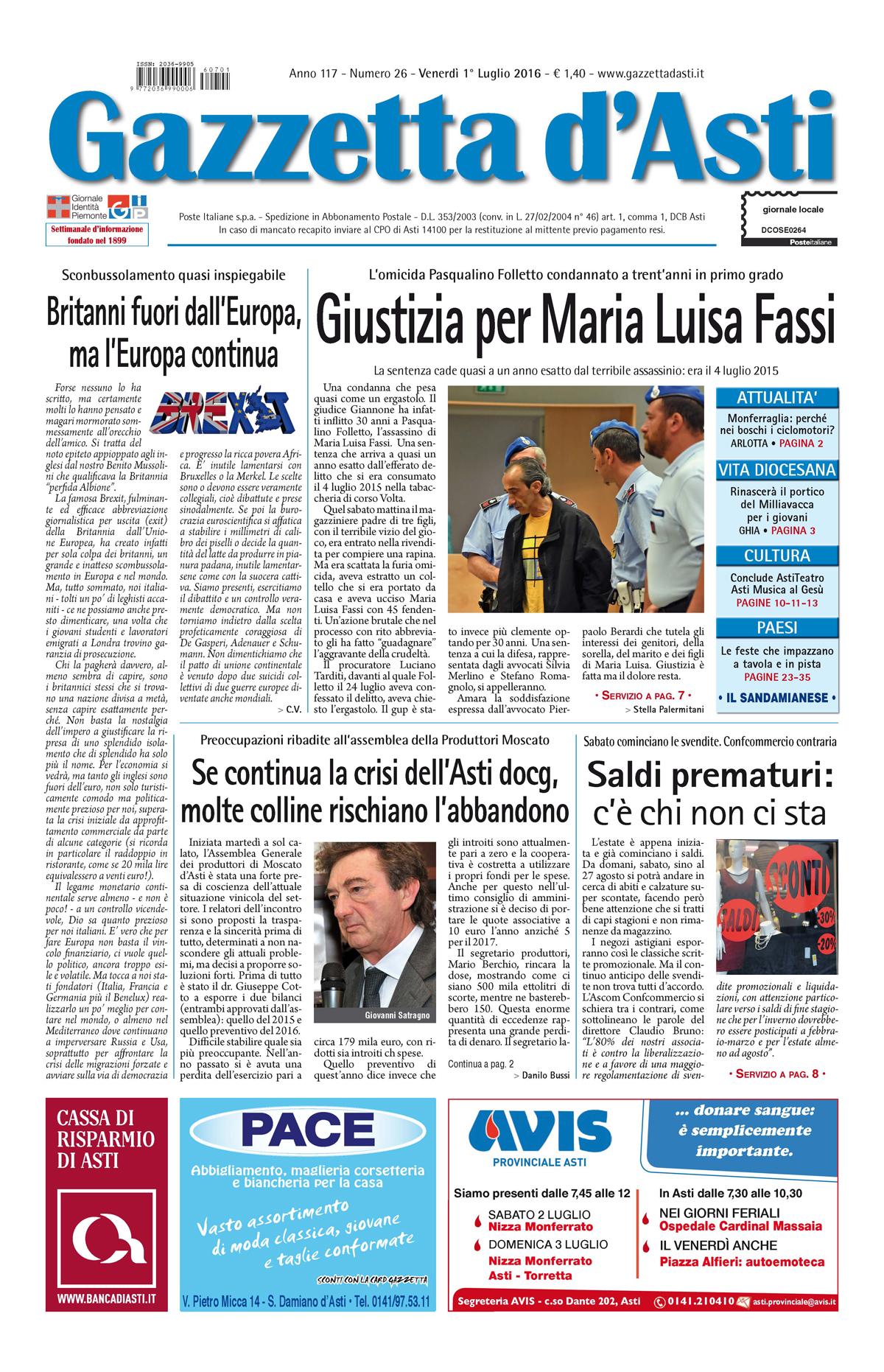 Prima pagina – 1° luglio 2016