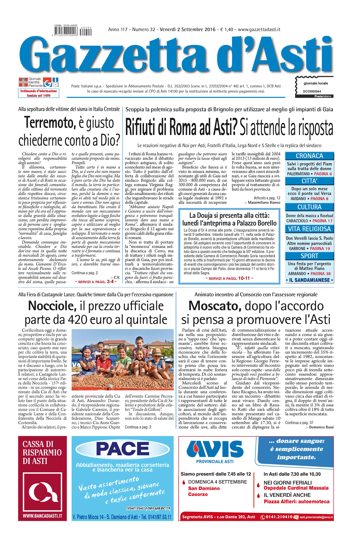 Prima pagina – 2 settembre 2016