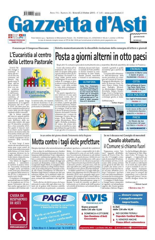 Prima pagina – 2 ottobre 2015