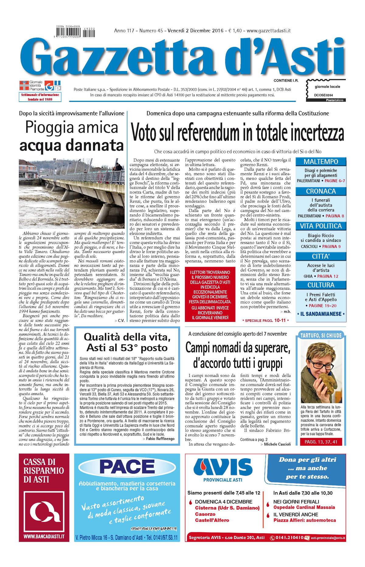 Prima pagina – 2 dicembre 2016