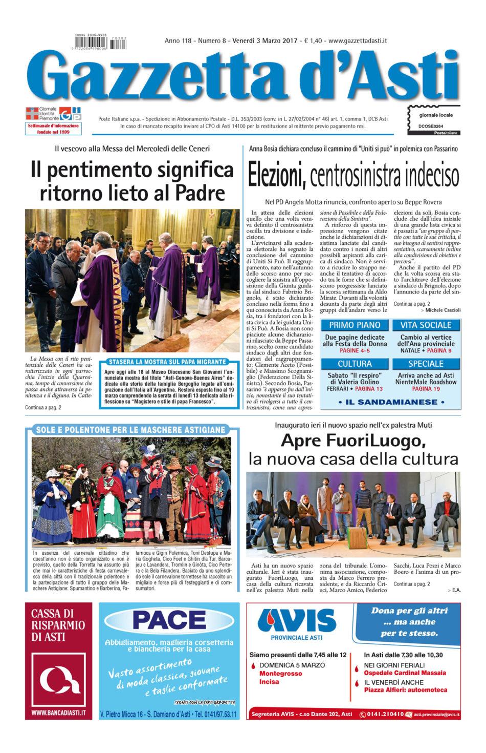 Prima pagina – 3 marzo 2017