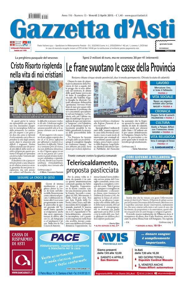 Prima pagina – 3 aprile 2015