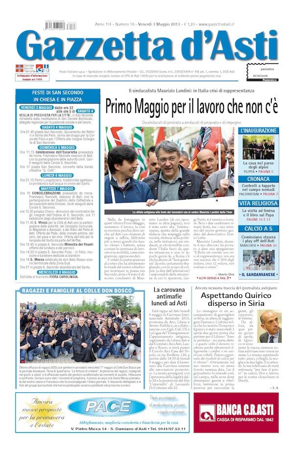 Prima pagina – 3 maggio 2013