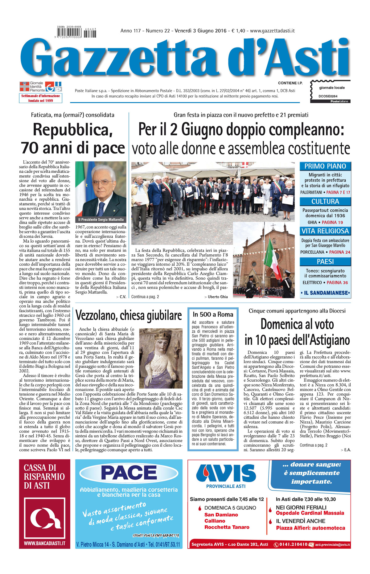 Prima pagina – 3 giugno 2016