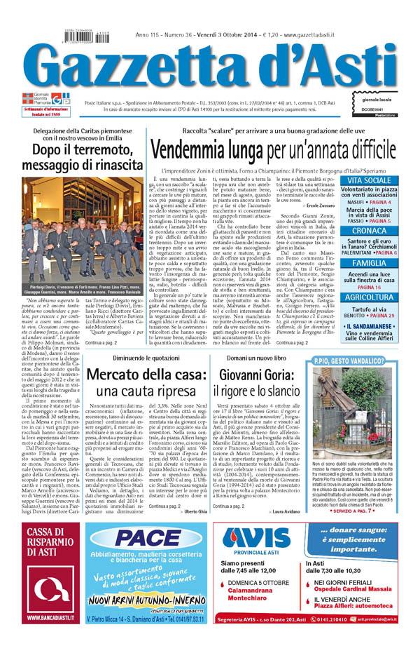 Prima pagina – 3 ottobre 2014