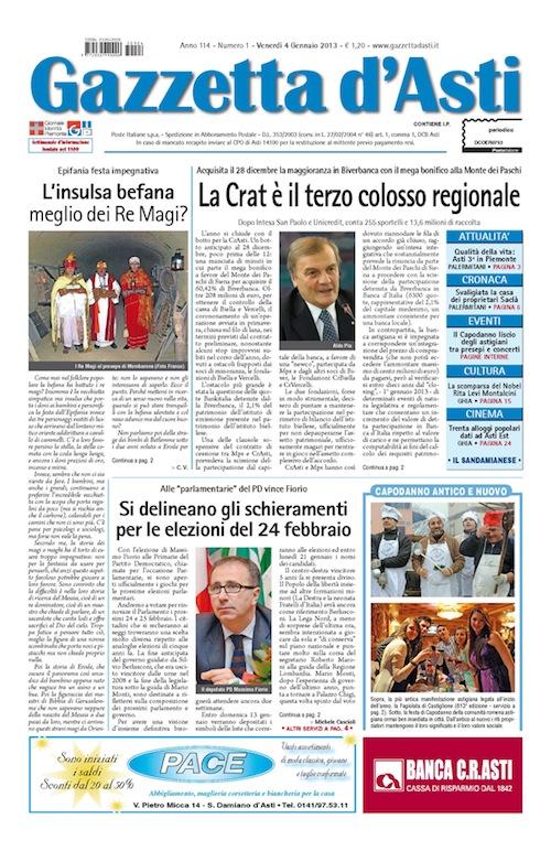 Prima pagina – 4 gennaio 2013