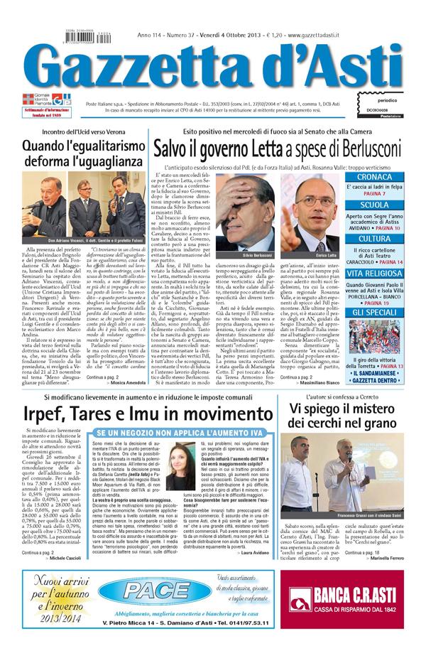 Prima pagina – 4 ottobre 2013