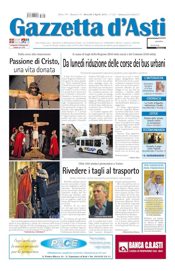 Prima pagina – 5 aprile 2013