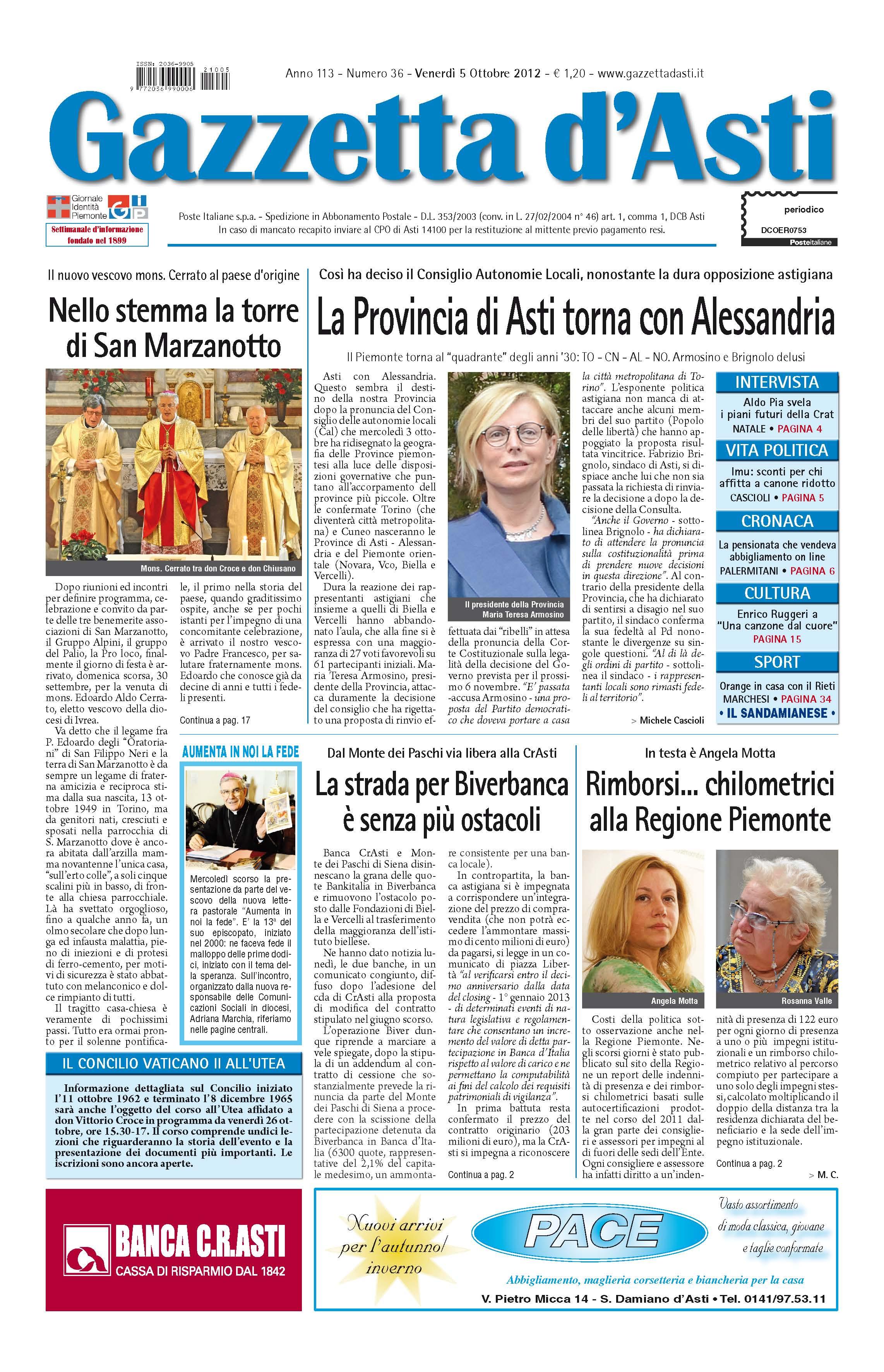 Prima Pagina – 5 ottobre 2012