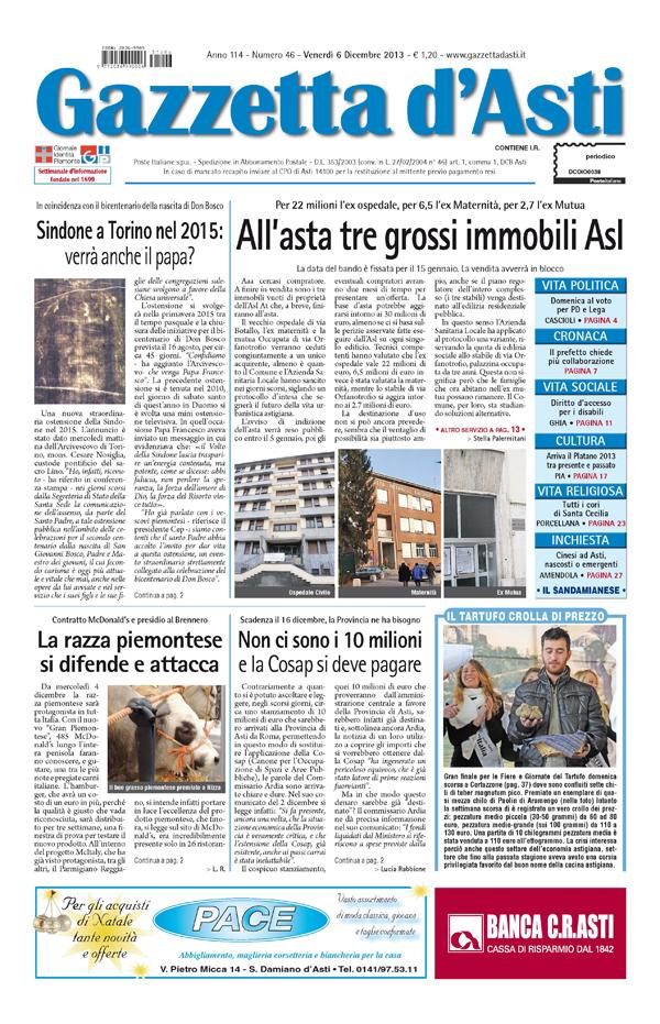 Prima pagina – 6 dicembre 2013