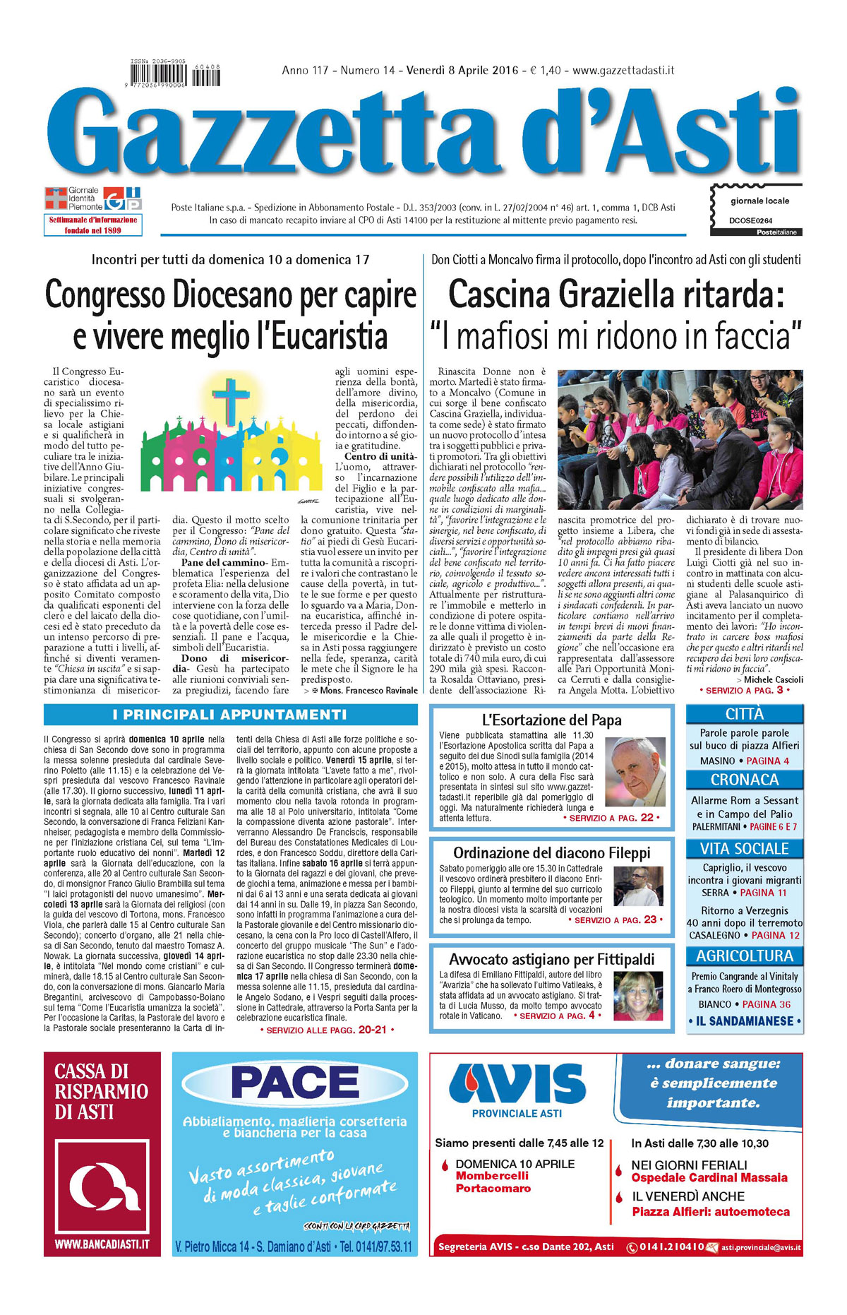 Prima pagina – 8 aprile 2016
