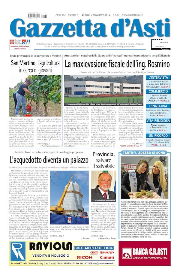 Prima pagina – 9 novembre 2012