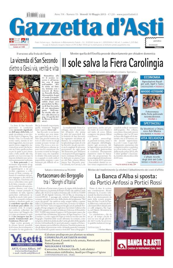 Prima pagina – 10 maggio 2013
