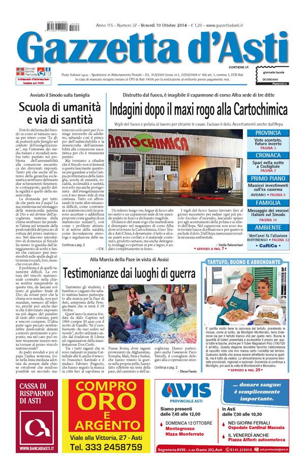 Prima pagina – 10 ottobre 2014