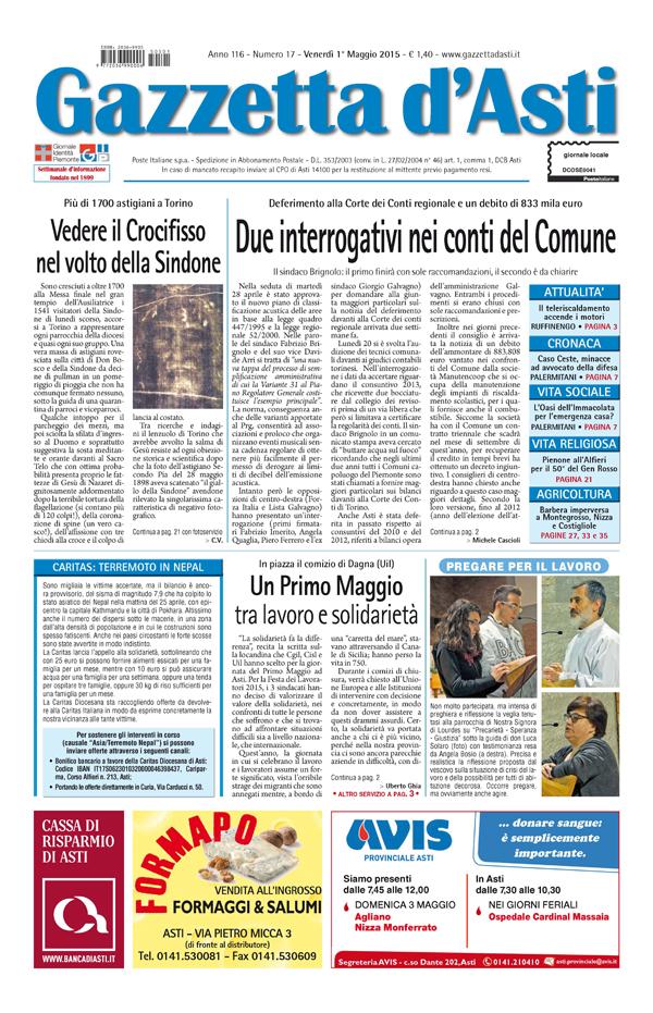Prima pagina – 1° maggio 2015