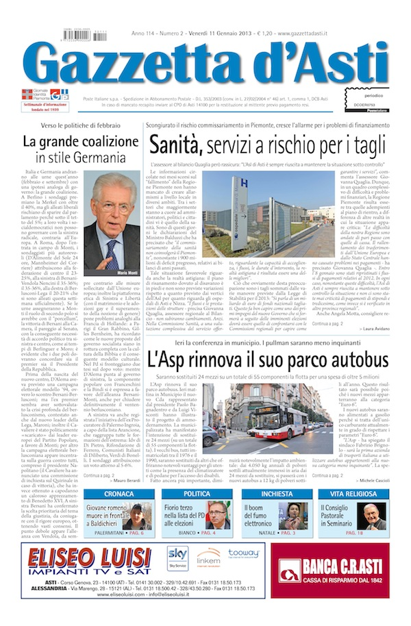 Prima pagina – 11 gennaio 2013