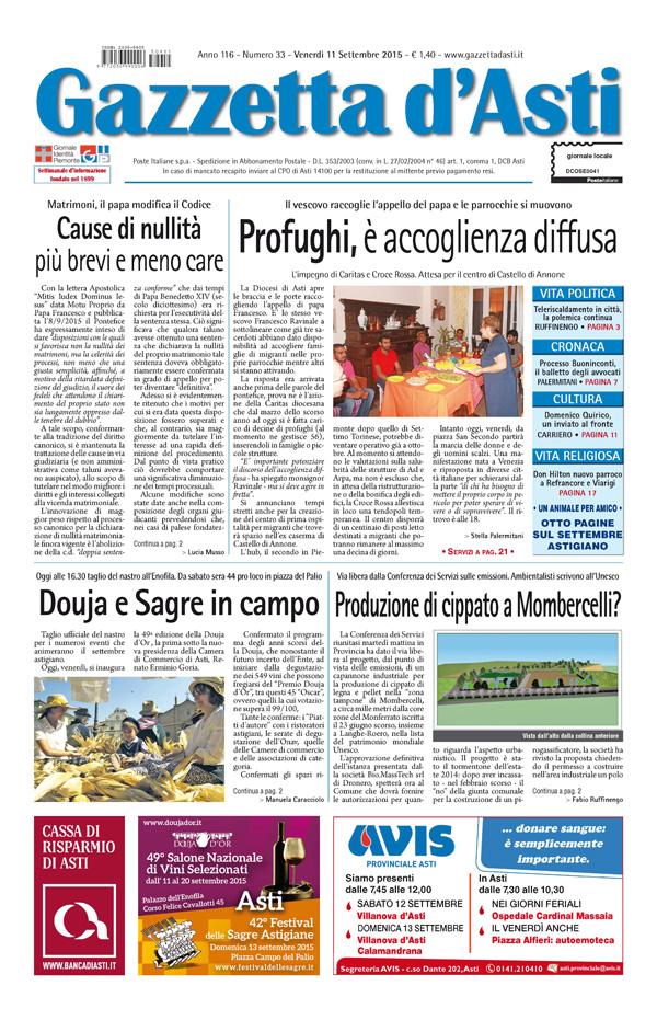 Prima pagina – 11 settembre 2015