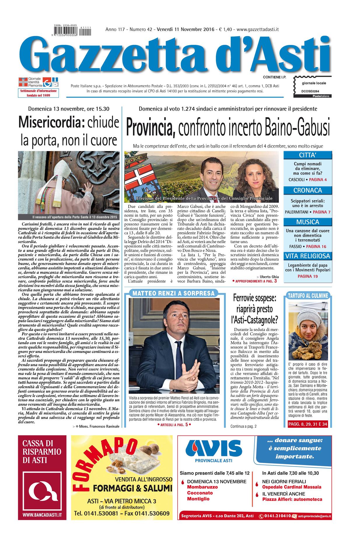 Prima pagina – 11 novembre 2016