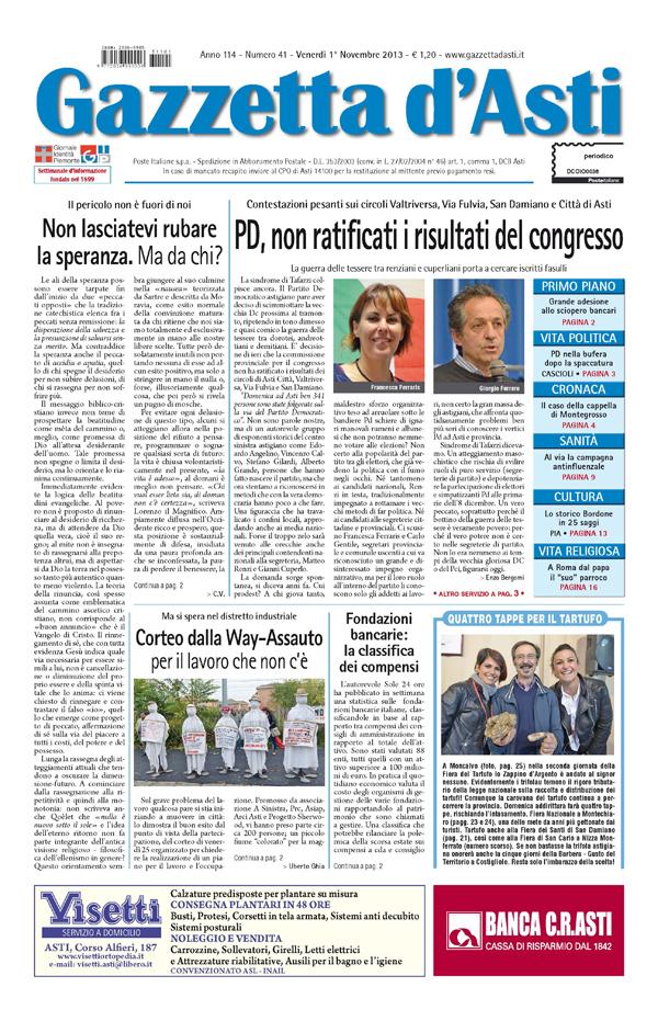 Prima pagina – 1 novembre 2013