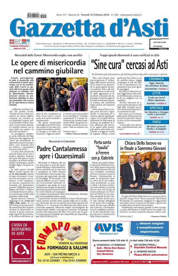 Prima pagina – 12 febbraio 2016
