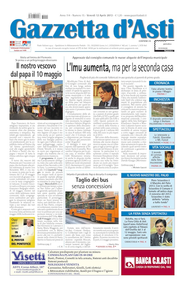 Prima pagina – 12 aprile 2013