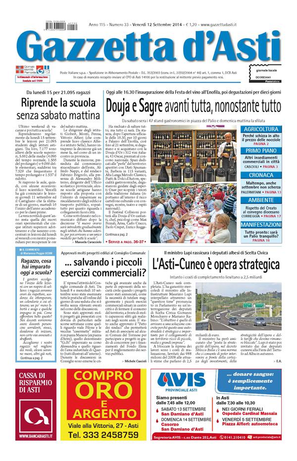 Prima pagina – 12 settembre 2014