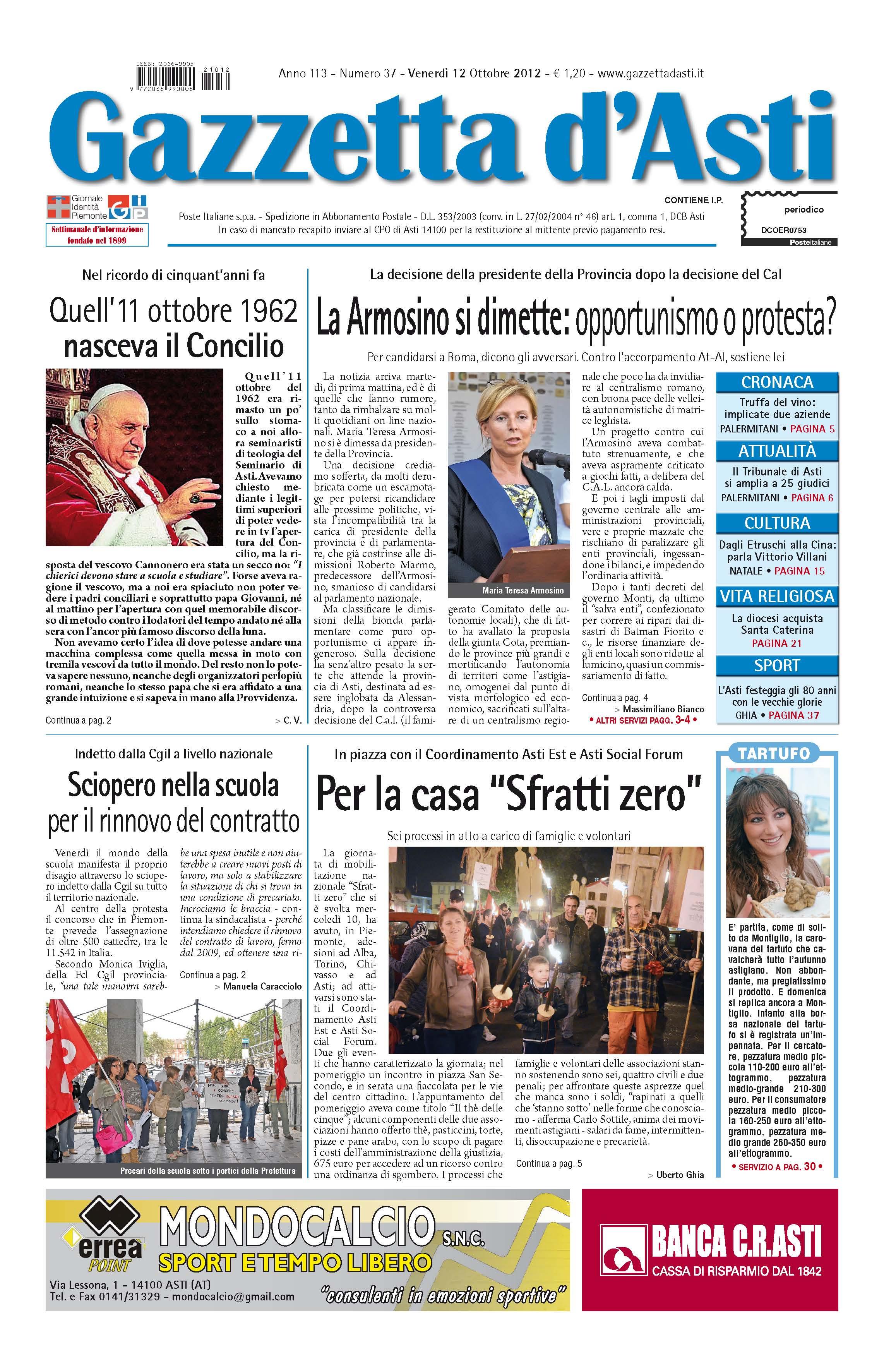 Prima pagina – 12 ottobre 2012
