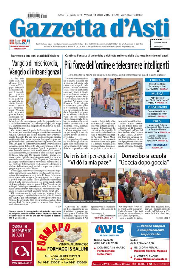 Prima pagina – 13 marzo 2015