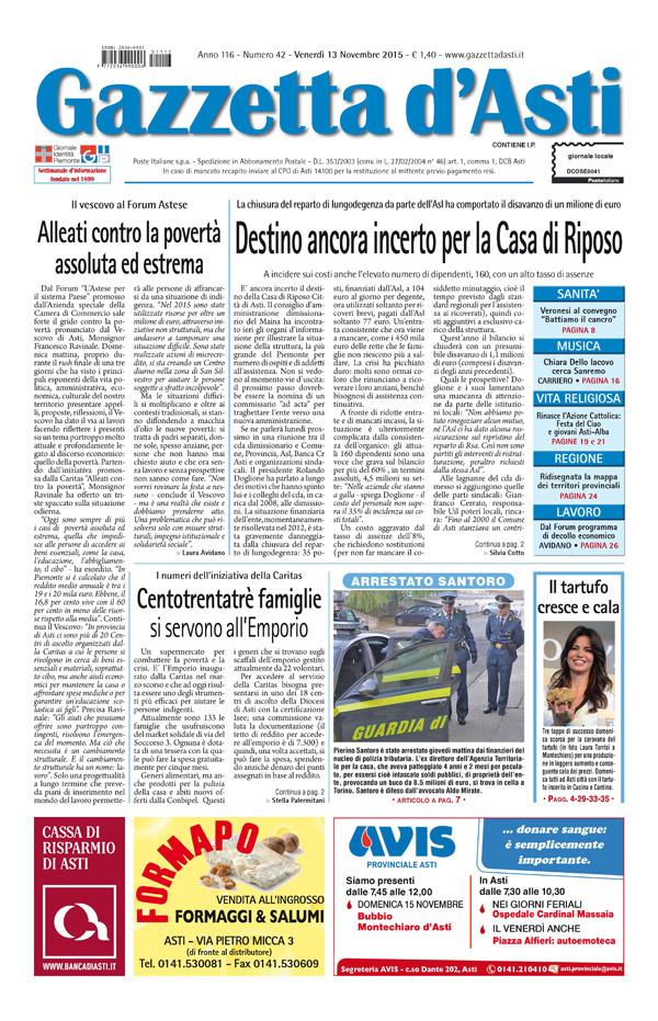 Prima pagina – 13 novembre 2015