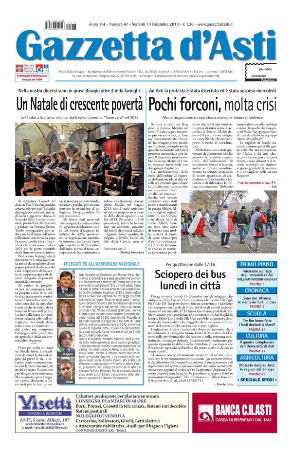 Prima pagina – 13 dicembre 2013