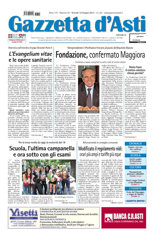 Prima pagina –  14 giugno 2013