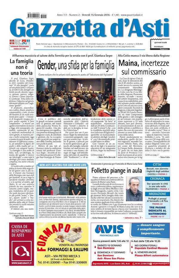 Prima pagina – 15 gennaio 2016