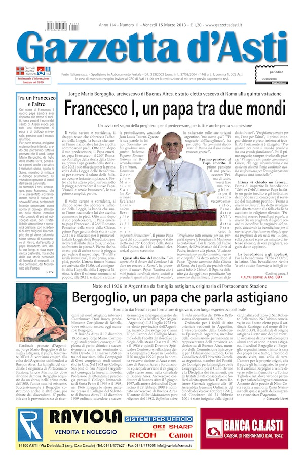 Prima pagina – 15 marzo 2013