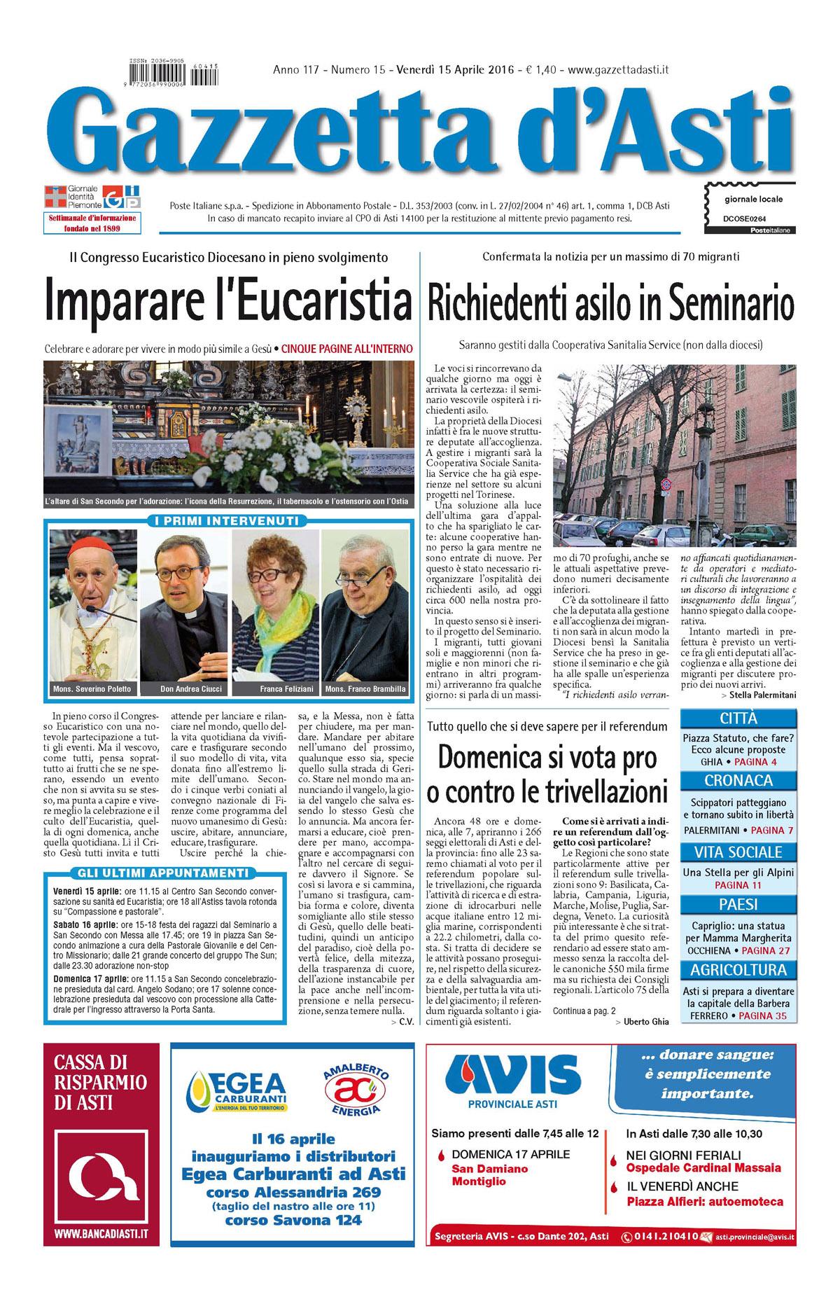 Prima pagina – 15 aprile 2016