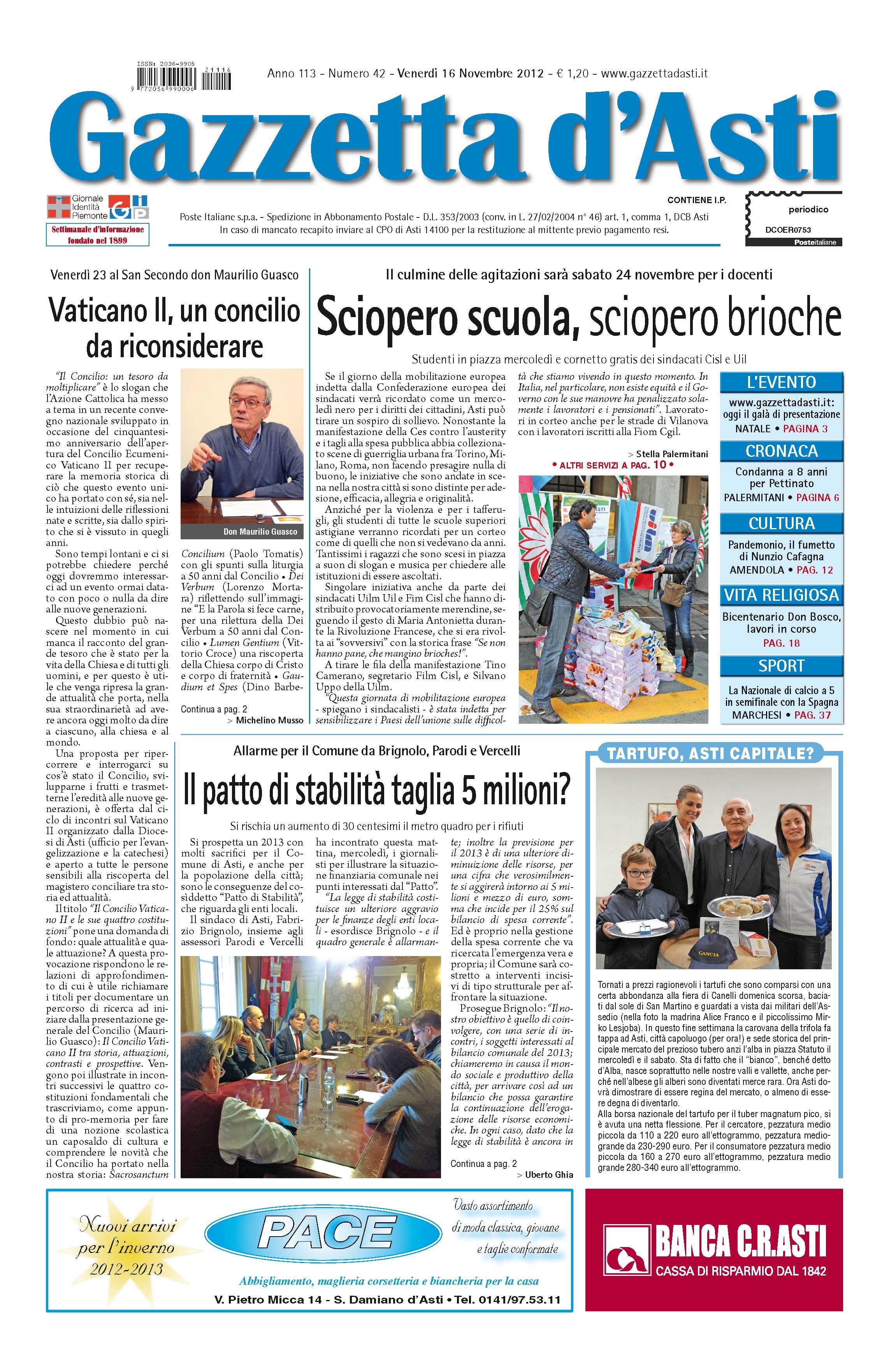 Prima pagina – 16 novembre 2012