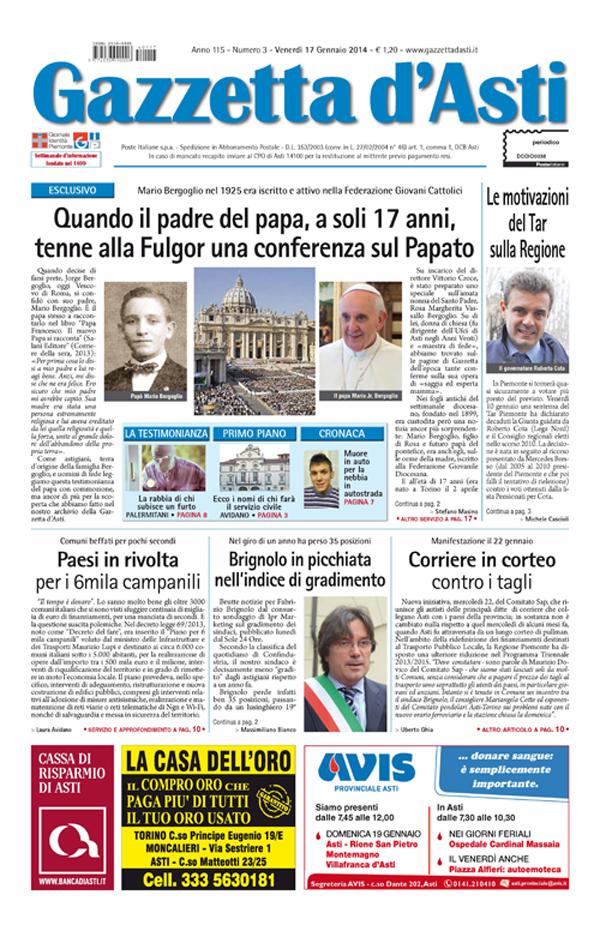 La locandina: i principali argomenti della settimana sulla Gazzetta d'Asti