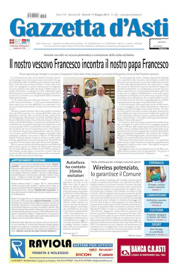 Prima pagina – 17 maggio 2013