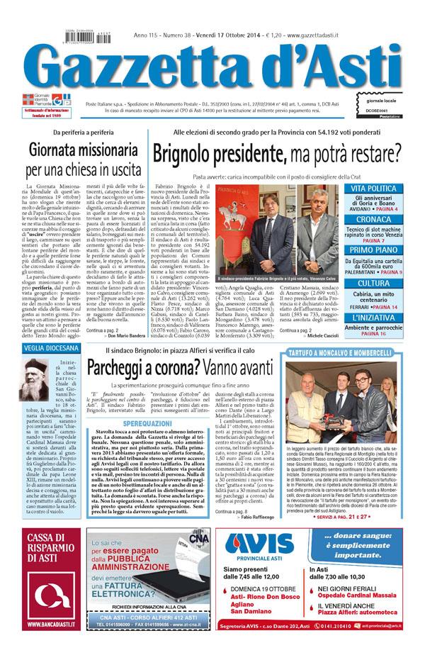 Prima pagina – 17 ottobre 2014