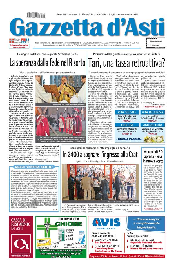 Prima pagina – 18 aprile 2014