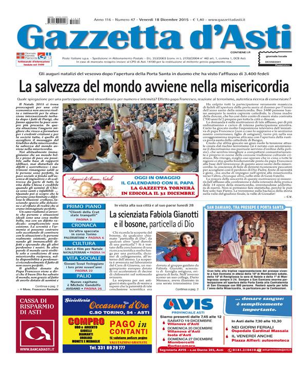 Prima pagina – 18 dicembre 2015