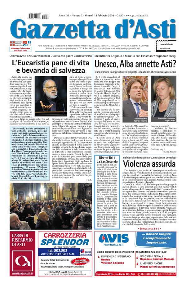 Prima pagina – 19 febbraio 2016