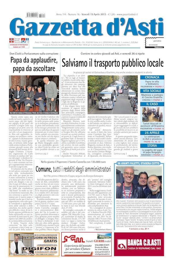 Prima pagina – 19 aprile 2013