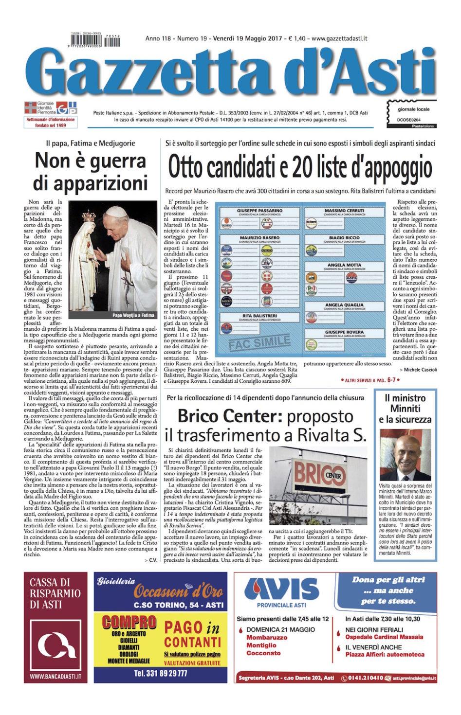 Prima pagina – 19 maggio 2017