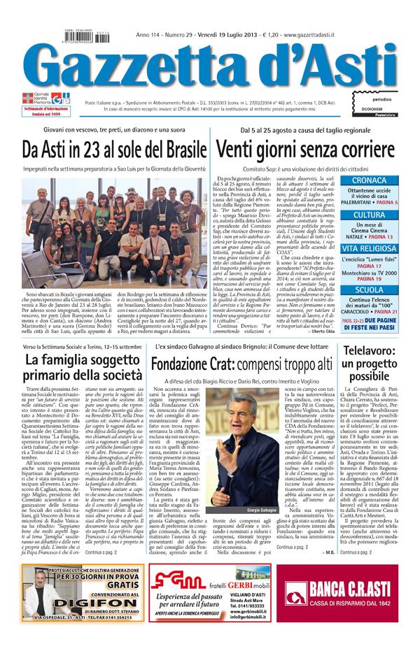 Prima pagina – 19 luglio 2013