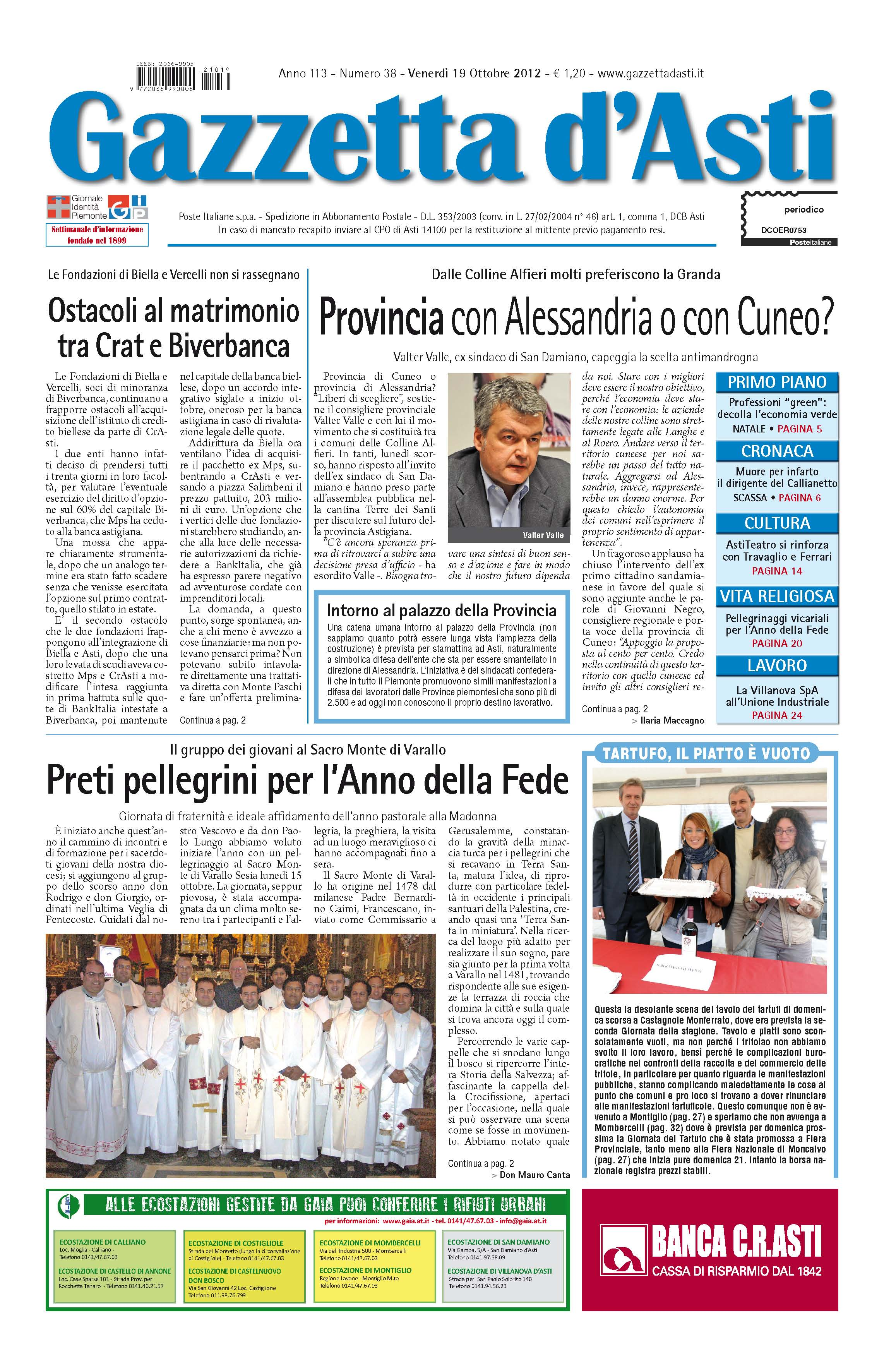 Prima pagina – 19 ottobre 2012
