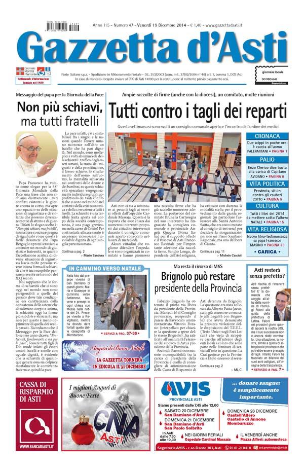 Prima pagina – 19 dicembre 2014